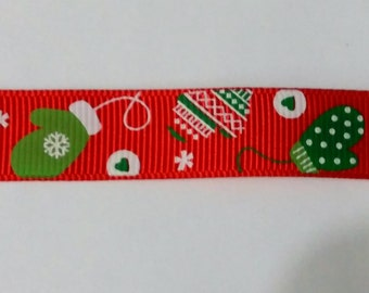 Christmas Mitten  Ribbon - Christmas Ribbon - Crafting - Scrapbooking - 1 Yard