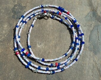 USA FLAG custom made waist beads, very tiny seeds beads in the colors white, blue and red, crystals, read item details and leave size