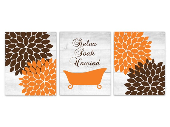Flower Bathroom Art, Orange and Brown Bathroom CANVAS or PRINTS,