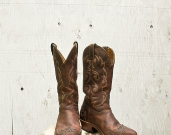 Boulet Canada Womens Cowboy Boots - Size 5 1/2 - Brown Leather
