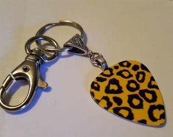 Guitar Pick KeyChain - Guitar Pick Jewelry - Yellow Key Chain - Leopard Key chain - Animal Print Jewelry - Pick Key Chain - Leopard Print