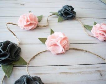 Pink Felt Flower Garland (Felt Light Pink + Grey Flower Vine): One Year Floral Photo Prop-Garden Home Decor - Baby Shower