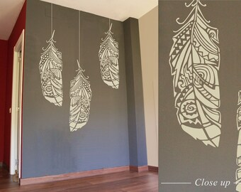 Forest Feather stencil -  Scandinavian feather wall decal and wall stencil, Scandinavian stencil for DIY projects - Tribal pattern