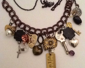 Assemblage Charm, Repurposed,Redesigned,and Refashioned Memory Necklace