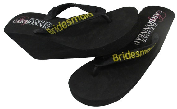 Bridesmaid glitter Flip on personalization wrapped your sizes with wedges choose All satin or straps flats color Flops amp; pxpr7qwYn4