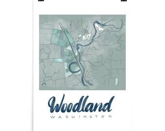 Local map Woodland Washington wall art souvenir gift painted map