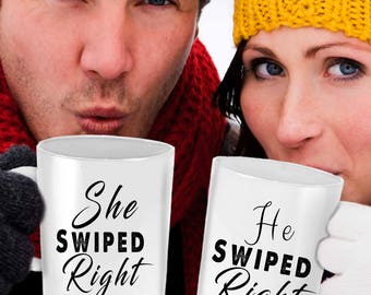 He swiped right, she swiped right, swiped right, swiped right gift, she swiped right mug, him and her mugs