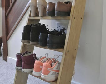 4 shelf Solid Wood Shoe Rack Oak colour storage ladder shelf Shelves 90cm Tall