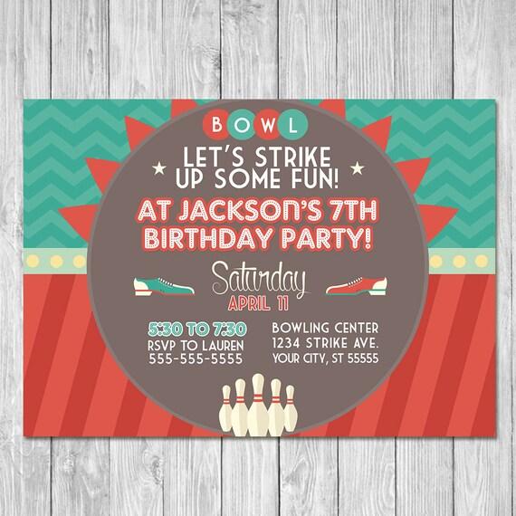 Bowling Invitation | Retro Chevron | Bowling Birthday Party Invite | Bowling Party Printables | Bowling Favor Tags | Bowling Party Ideas