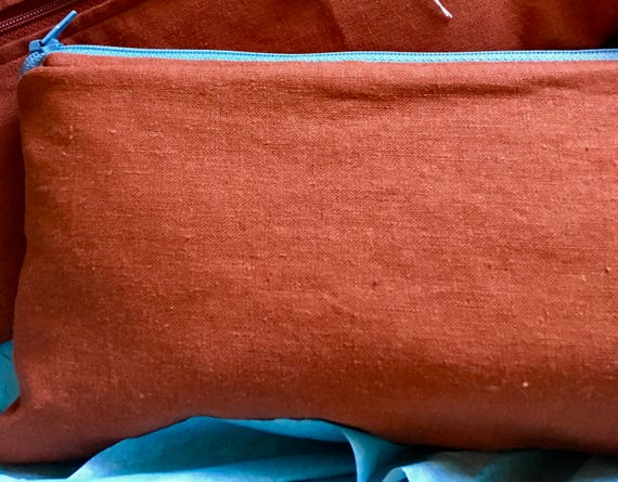 Linen/Cotton Zippered Pouch/Clutch with Cotton Lining, Customizable