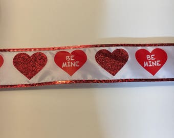 "Valentine ribbon white with red hearts and ""Be Mine"" printed on it"