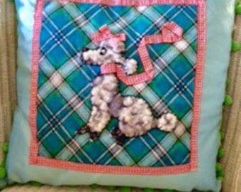 Christmas gift, Vintage Style Dog/ poodle Cushion
