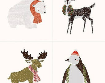 Moda Merrily Christmas Panel Cotton Fabric by Gingiber