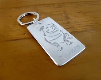Boxer Personalised Keyring, Bulldog Keyring, Bulldog Keychain, Boxer Fob, Personalised Dog Keyring, Pet Loss Keyring, Pet Memorial Gift