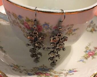 Silver Flower Vine Earrings