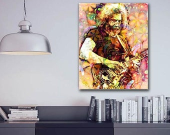 Jerry Garcia Canvas, Grateful Dead Canvas, Hippie Canvas, Jerry Garcia Art, Grateful Dead Art, Deadhead, Hippie Painting, Original Grateful