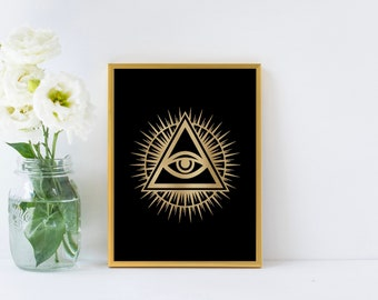 All Seeing Eye Gold Foil Print
