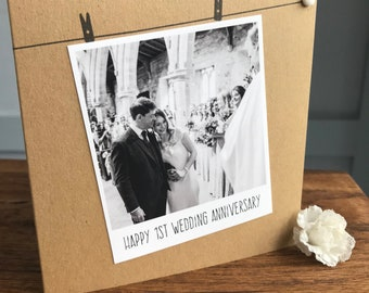 Handmade Personalised Card, Anniversary, Polaroid Photograph, Recycled Kraft or Grey Card