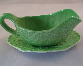 Carlton Ware Green Leaf Effect Gravy Boat and Stand - *some damage*