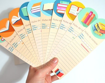 Set of 10 sheets of reading bookmark: books