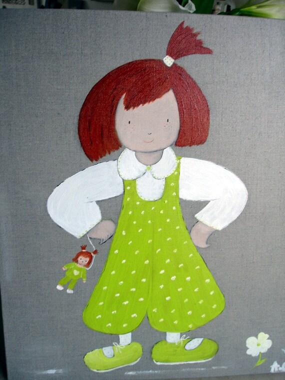 tableau d coratif en peinture pour chambre de petite fille. Black Bedroom Furniture Sets. Home Design Ideas