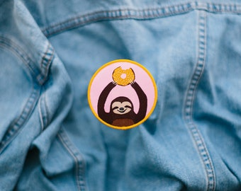 SALE - Donut Sloth Iron-on Patch
