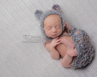 Newborn knit bear bonnet and 10x30 wrap, photo prop, gift, coming home, boy,girl,knit,crochet