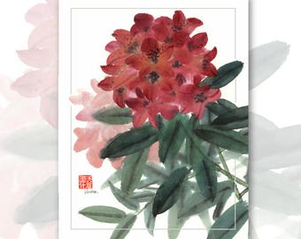 Watercolor Chinese Brush Painting Cards -  Rhododendron 2