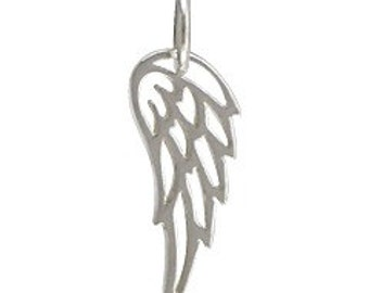 Tiny Sterling Silver Angel or Bird Wing Pendant