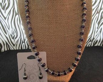 Dark Purple & Silver Pearl Necklace/Earrings Set