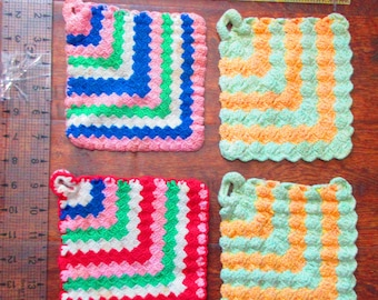 "Antique crocheted pot holders 4, each approx 6"" square"