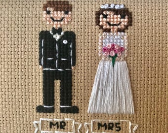 Custom Bride and Groom Cross Stitch Family (5x5)