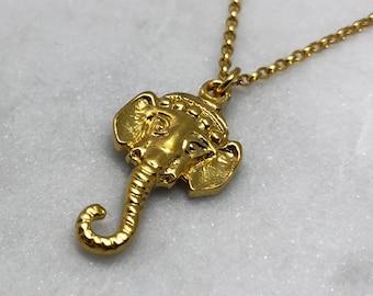 Elephant Head Gold Necklace