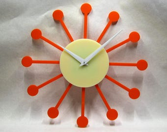 60's wall clock, 50's wall clock, made in USA, mid century, wall art, clock, orange, orange clock