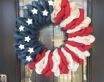 Burlap wreath- American flag - red, white and blue burlap flag wreath; Everyday