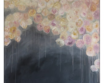 Extra Large Abstract Original Flower Painting on Canvas Modern Acrylic Painting - 48x48 - Pink, Gray, Charcoal, Cream