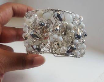 Bride cuff sterling silver wire crochet bracelet