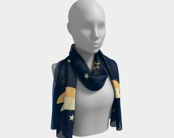 Women's lightweight scarf, Midnight Sky Long Fashion Scarf, Celestial Design, Moon and Stars, Made to Order