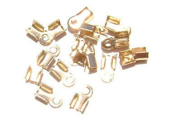 Cord Ribbon End Tip Fold Over Clasp Crimp Bead Stopper Shiny Rose Gold Small 5x3mm (3x2mm workspace)  - 100 Qty