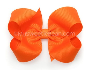 Orange Hair Bow, 4 inch Hair Bow, Twisted Boutique Bow, Basic Hairbow, Baby Girl Toddler Hairbows, Tangerine, Bright Orange Bow for Girls