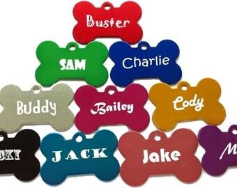 Pet ID Tags - Bone Shaped Pet ID Tag, Dog Tag, Cat Tag, Pet Tag - Font Choices
