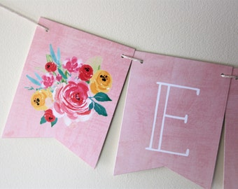 Floral Banner. Flower Banner. Floral Theme. Baby Shower. Bridal Shower. Wedding Banner. Birthday Party. Custom Banner. Flower Bouquet. Love