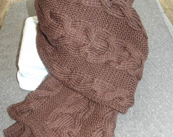 Mixed Brown sheer scarf hand knitted wool