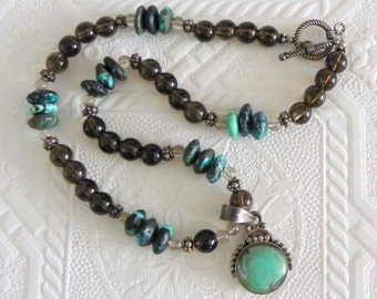 Turquoise Smokey Quartz Sterling Silver Pendant Necklace