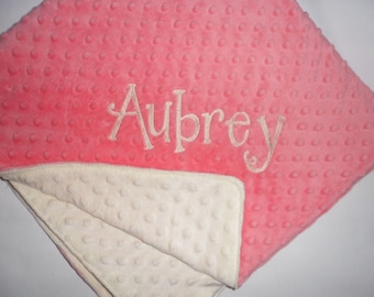 Coral & Cream Minky Baby Blanket - Custom Monogram