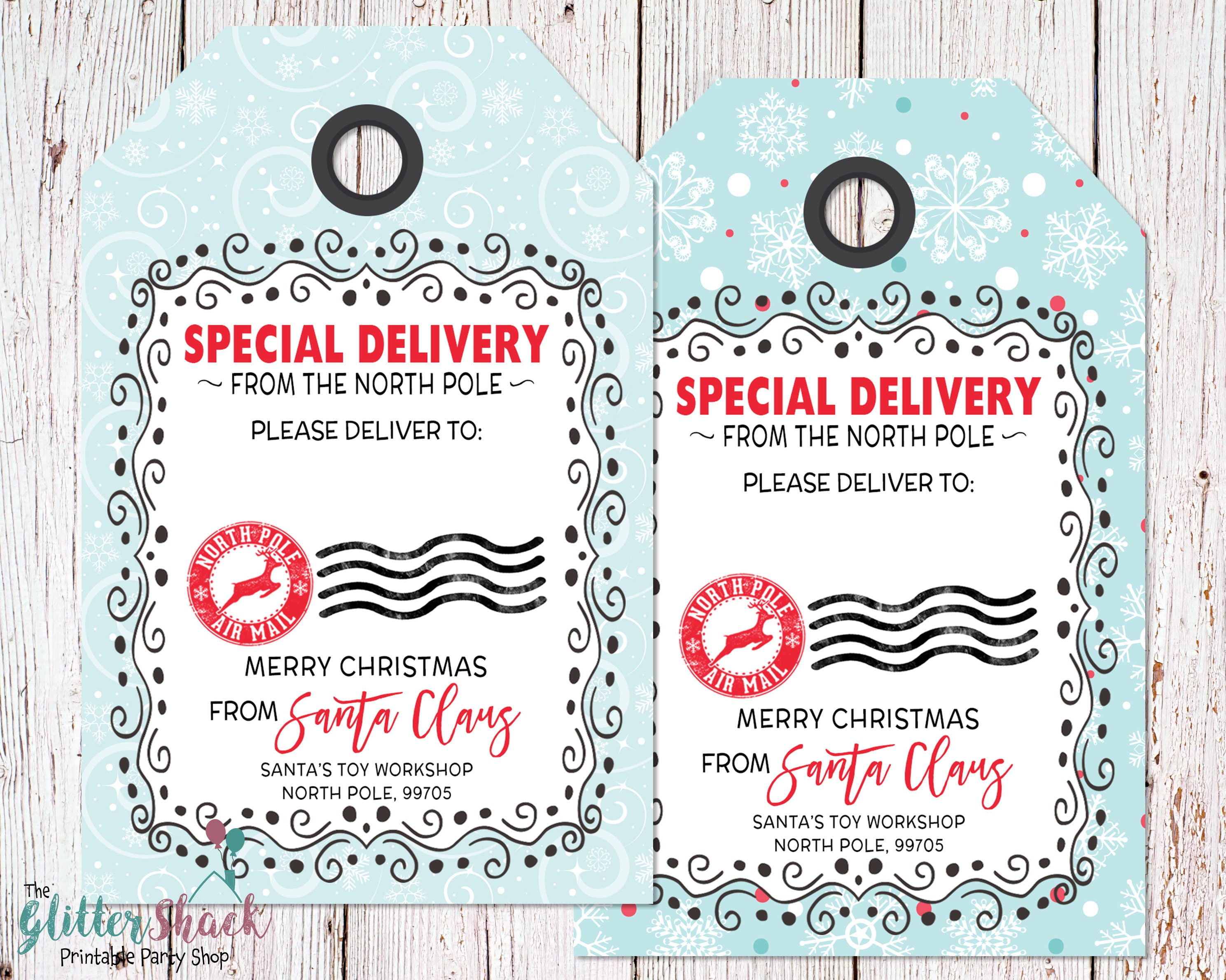 Printable holiday gift tags blank from santa gift tags zoom negle Choice Image