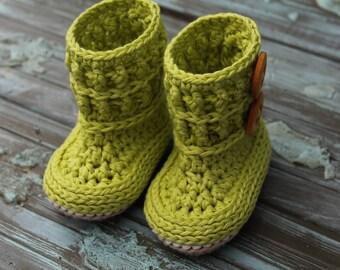 "Cute Crochet Pattern for Baby Girls ""Wellington"" Baby Crochet Booties, Bootie Pattern, Cute Green Girls Boots PDF PATTERN ONLY"