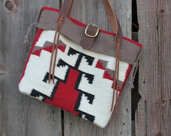 Saddle Blanket Bag, Weekender Bag Saddle, Blanket Tote, Southwest Bag, Western Saddle Blanket Bag, Western Handbag, Red, Messenger Bag