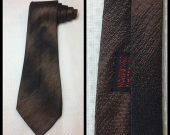 Vintage 1950's Brown and Black diagonal shadow striped shimmer Necktie silky Tie Rayon Acetate 3.5 inch wide