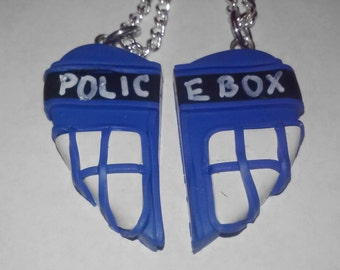 TARDIS Doctor Who Best Friends Heart Pendant.  Besties on Book Mark Key Ring Polymer Clay